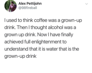 Grown up drinks: Alex Pettijohn  @98fireball  I used to think coffee was a grown-up  drink. Then l thought alcohol was a  grown up drink. Now I have finally  achieved full enlightenment to  understand that it is water that is the  grown-up drink Grown up drinks