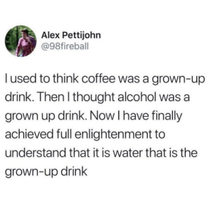 enlightenment: Alex Pettijohn  @98fireball  lused to think coffee was a grown-up  drink. Then I thought alcohol was a  grown up drink. Now I have finally  achieved full enlightenment to  understand that it is water that is the  grown-up drink