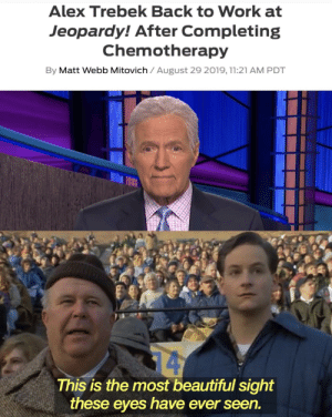 Invest in the man, the myth, the legend! Your profits will not be in Jeapordy!: Alex Trebek Back to Work at  Jeopardy! After Completing  Chemotherapy  By Matt Webb Mitovich August 29 2019, 11:21 AM PDT  14  This is the most beautiful sight  these eyes have ever seen. Invest in the man, the myth, the legend! Your profits will not be in Jeapordy!