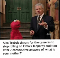 alex: Alex Trebek signals for the cameras to  stop rolling on Elmo's Jeopardy audition  after 7 consecutive answers of what is  your mother?