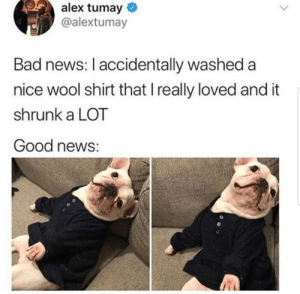 Bad, News, and Good: alex tumay  @alextumay  Bad news: I accidentally washed a  nice wool shirt that I really loved and it  shrunk a LOT  Good news: Great news