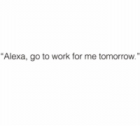 "Funny, Work, and Tomorrow: ""Alexa, go to work for me tomorrow."" Pleaseee"