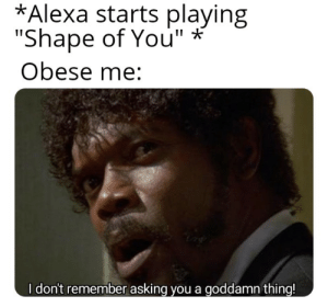"Reddit, Asking, and Alexa: *Alexa starts playing  ""Shape of You""  Obese me:  I don't remember asking you a goddamn thing! Nobody likes you Alexa"