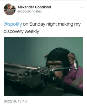 Target, Tumblr, and Twitter: Alexander Goodkind  @goodkindalex  @spotify on Sunday night making my  discovery weekly  8/22/18, 13:40 alexander:  If you didn't know I have a twitter now