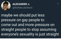 Memes, Pressure, and Okay: ALEXANDER J.  @ltsAlexJackson  maybe we should put less  pressure on gay people to  come out and more pressure on  straight people to stop assuming  everyone's sexuality is just straight okay but this is important