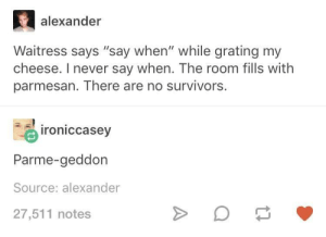 "Never, Cheese, and Survivors: alexander  Waitress says ""say when"" while grating my  cheese. I never say when. The room fills with  parmesan. There are no survivors.  roniccasev  Parme-geddon  Source: alexander  27,511 notes cloudy with a chance of cheeseballs"