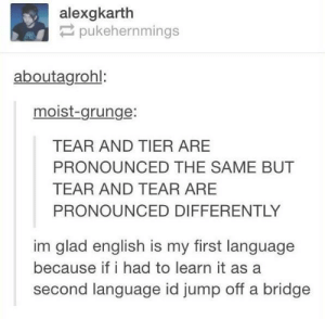 The English language: alexgkarth  pukehernmings  aboutagrohl:  moist-grunge:  TEAR AND TIER ARE  PRONOUNCED THE SAME BUT  TEAR AND TEAR ARE  PRONOUNCED DIFFERENTLY  im glad english is my first language  because if i had to learn it as a  second language id jump off a bridge The English language