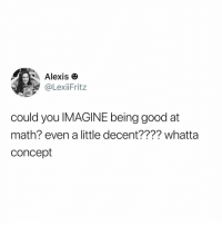 Memes, Good, and Math: Alexis  LexiiFritz  could you IMAGINE being good at  math? even a little decent???? whatta  concept Ugh
