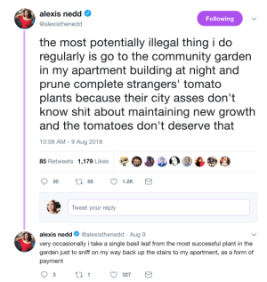 alexisthenedd: great-tweets:  textbook chaotic good  Thank you to everyone in the comments calling me a faerie : alexis nedd  @alexisthenedod  Following  the most potentially illegal thing i do  regularly is go to the community garden  in my apartment building at night and  prune complete strangers' tomato  plants because their city asses don't  know shit about maintaining new growth  and the tomatoes don't deserve that  10:58 AM -9 Aug 2018  85 Retweets 1,179 Likes  30 t 85 1.2K  Tweet your reply  alexis nedd@alexisthenedd Aug 9  very occasionally i take a single basil leaf from the most successful plant in the  garden just to sniff on my way back up the stairs to my apartment, as a form of  payment  3  1  327 alexisthenedd: great-tweets:  textbook chaotic good  Thank you to everyone in the comments calling me a faerie