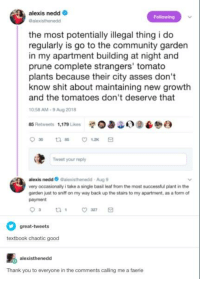 Community, Shit, and Thank You: alexis nedd  Galexisthenedd  Following  the most potentially illegal thing i do  regularly is go to the community garden  in my apartment building at night and  prune complete strangers' tomato  plants because their city asses don't  know shit about maintaining new growth  and the tomatoes don't deserve that  0:58 AM-9 Aug 2018  85 Retweets 1,179 Likes39  Tweet your roply  alexis nedd Galexisthenedd Aug 9  very occasionally i take a single basil leaf from the most successful plant in the  garden just to sniff on my way back up the stairs to my apartment, as a form of  payment  great-tweets  textbook chaotic good  alexisthenedd  Thank you to everyone in the comments calling me a faerie