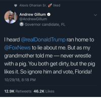 Ok I know this sub isn't a fan of politics, but this dude roasted Trump really fucking hard lol.: Alexis Ohanian Sr. liked  Andrew Gillum<  @AndrewGillum  Governor candidate, FL  I heard @realDonaldTrump ran home to  @FoxNews to lie about me. But as my  grandmother told me-never wrestle  with a pig. You both get dirty, but the pig  likes it. So ignore him and vote, Florida!  10/29/18, 8:18 PM  12.9K Retweets 46.2K Likes Ok I know this sub isn't a fan of politics, but this dude roasted Trump really fucking hard lol.