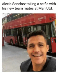 Memes, Selfie, and Alexis Sanchez: Alexis Sanchez taking a selfie with  his new team mates at Man Utd ParkTheBus 😂