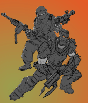 alexzebol:  Made a sketch for duo - Tachanka (Rainbow Six Siege) and DoomSlayer (DOOM): alexzebol:  Made a sketch for duo - Tachanka (Rainbow Six Siege) and DoomSlayer (DOOM)