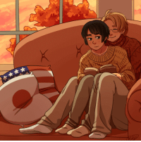 Target, Tumblr, and Blog: alfredtalia:  Just some Ameripan cuddles on a crisp autumn evening.For day 7 of @aphrarepairweek2017, four seasons!