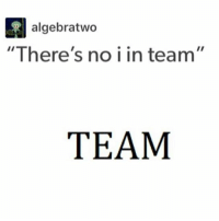 "Memes, 🤖, and Team: algebratwo  ""There's no i in team""  TEAM Unless you can do math"