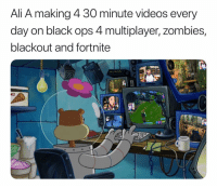 Ali, Meme, and Memes: Ali A making 4 30 minute videos every  day on black ops 4 multiplayer, zombies,  blackout and fortnite  ES Better version of a meme I posted earlier