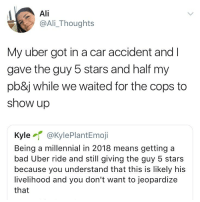 Ali, Bad, and Uber: Ali  @Ali_Thoughts  My uber got in a car accident andl  gave the guy 5 stars and half my  pb&j while we waited for the cops to  show up  Kyle @KylePlantEmoji  Being a millennial in 2018 means getting a  bad Uber ride and still giving the guy 5 stars  because you understand that this is likely his  livelihood and you don't want to jeopardize  that Or when they almost kill you and spill your coffee on you. Be nice y'all bc that could be their only job and if they get banned, they can't work with uber anymore regardless of the reason.