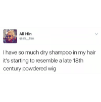Wigs, Girl Memes, and Dry Shampoo: Ali Hin  @ali hin  I have so much dry shampoo in my hair  it's starting to resemble a late 18th  century powdered wig Been there. Via (@ali_hin)