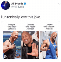 "this is the best thing i've ever seen????? (@aliplumb - @thedad): Ali Plumb  @AliPlumb  l unironically love this joke.  Dwayne  ""The Rock""  Johnson  Dwayne  ""The Paper""  Johnson  Dwayne  ""The Scissors""  Johnson  THE DAID this is the best thing i've ever seen????? (@aliplumb - @thedad)"