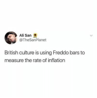 Ali, Memes, and British: Ali San  @TheSanPlanet  British culture is using Freddo bars to  measure the rate of inflation Follow @satan for the dankest memes