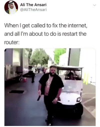Ali, Internet, and Memes: Ali The Ansari  @AliTheAnsari  When I get called to fix the internet,  and all I'm about to do is restart tne  router: Big mood 😆