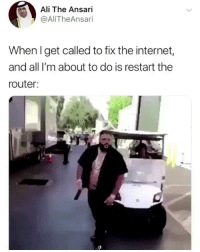 Ali, Internet, and Lol: Ali The Ansari  @AliTheAnsari  When l get called to fix the internet,  and all I'm about to do is restart the  router: Lol