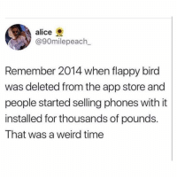 Memes, Weird, and App Store: alice  @90milepeach  Remember 2014 when flappy bird  was deleted from the app store and |  people started selling phones with it  installed for thousands of pounds.  That was a weird time Like if you still have flappy bird! 😂