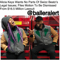 Cars, Ferrari, and Memes: Alicia Keys Wants No Parts Of Swizz Beatz's  Legal Issues; Files Motion To Be Dismissed  From $16.5 Million Lawsuit  @balleralert Alicia Keys Wants No Parts Of Swizz Beatz's Legal Issues; Files Motion To Be Dismissed From $16.5 Million Lawsuit – blogged by @MsJennyb ⠀⠀⠀⠀⠀⠀⠀ ⠀⠀⠀⠀⠀⠀⠀ AliciaKeys is trying to disconnect herself from her husband's legal woes after the super producer was hit with a $16.5 million lawsuit over luxury cars. ⠀⠀⠀⠀⠀⠀⠀ ⠀⠀⠀⠀⠀⠀⠀ According to the @blast, Metro Gem Leasing sued SwizzBeatz and his wife's company, AK Worldwide Productions for defaulting on the leases of luxury cars leased in his name. In the suit obtained by the publication, Metro Gem said Swizz and his wife had been avoiding repossession after defaulting on the leases of the cars. ⠀⠀⠀⠀⠀⠀⠀ ⠀⠀⠀⠀⠀⠀⠀ Metro Gem also claimed the two had about five leases in default, including a $155,000 Range Rover and a $600,000 Ferrari F12. However, Alicia says none of this is her problem. ⠀⠀⠀⠀⠀⠀⠀ ⠀⠀⠀⠀⠀⠀⠀ According to The Blast, the singer says her name was not on the lease agreement or any of the paperwork for the cars. But, she says from what she understands, all of Metro's cars have been returned to the leasing company. In fact, she fires back and accuses the company of trying to rope her into the drama for more money, but she wants out. ⠀⠀⠀⠀⠀⠀⠀ ⠀⠀⠀⠀⠀⠀⠀ She has since filed a motion to be dismissed from the case. On the other hand, according to the publication, Swizz is asking for the entire case to be dismissed. The producer filed a separate motion, accusing the company of trying to stick him for his paper because he's a celebrity.