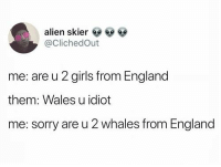 England, Funny, and Girls: alien skier 9  @ClichedOut  me: are u 2 girls from England  them: Wales u idiot  me: sorry are u 2 whales from England