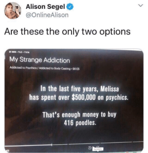 Memes, Money, and Addicted: Alison Segel  @OnlineAlison  Are these the only two options  21 MIN-TLC TV14  My Strange Addiction  Addicted to Psychics/ Addicted to Body Casting $6 E5  In the last five years, Melissa  has spent over $500,000 on psychics.  That's enough money to buy  416 poodles.  Numbers Memes I don't see that often - Album on Imgur