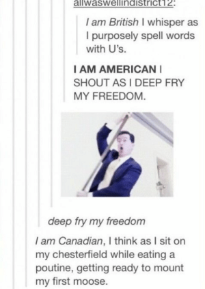 : aliwaswellindistrict12:  I am British I whisper as  I purposely spell words  with U's.  I AM AMERICAN  SHOUT AS I DEEP FRY  MY FREEDOM  deep fry my freedom  I am Canadian, I think as I sit on  my chesterfield while eating a  poutine, getting ready to mount  my first moose.