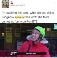 aliyanaathirah13  I'm laughing this part...what are you doing  Jungkook  this kid!!! The third  games so funny on Run BTS Who said jk isn't extra