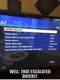 Being Alone, Funny, and Home Alone: All  4:02  HOME ALONE  Home Alone  Home Alone 2: Lost in New York  Home Alone 3  Home Alone (HD)  Home Alone: The Holiday Heist  Horny Moms Home Alone With Their Dildos  Movie  Movie  Movie  On Demand  Movie  On Demand  items  WELL, THAT ESCALATED  QUICKLV.