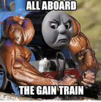 Thomas the TANK engine. . @officialdoyoueven 💯: ALL ABOARD  THE GAIN TRAIN Thomas the TANK engine. . @officialdoyoueven 💯