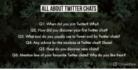Advice, Memes, and Twitter: ALL ABOUT TWITTER CHATS  Q1. When did you join Twitter? Why?  Q2. How did you discover your first Twitter chat?  Q3. What tool do you usually use to Tweet and for Twiter chats?  Q4. Any advice for the newbies at Twitter chat? Share!  Q5. How do you discover new chats?  Q6. Mention few of your favourite Twitter chats? Why do you like them?  Crowdfire Here's a sneak-peek into the questions for today's #cfchat 😎 Topic - All About Twitter Chats ✨ [4:00pm AEST/ 11:30am IST] https://t.co/efj6JkVmtJ