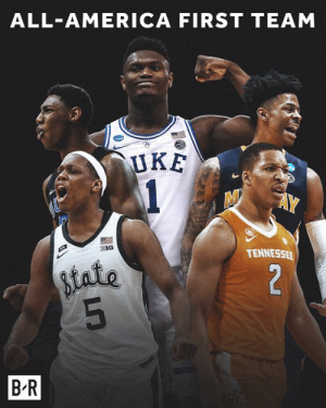 America, Zion, and Team: ALL-AMERICA FIRST TEAM  UKE  B1G  TENNESSE  state  B R Zion, RJ, Ja, Grant and Cassius 💪