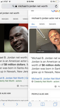 "Michael B. Jordan, News, and American: all AT&T  9:19 PM  a e michael b jordan net worth C  el jordan net worth  IMAGES  NEWS  VIDEO  michael b jordan actor net w  ALL  NEWS  IMAGES  coed.com  ael  B. Jordan net worth: ""Michael B. Jordan net w  an is an American actor Jordan is an American a  of $8 million dollars. M worth of $8 million dolla  was born in Santa Ana Jordan was born in Sant  up in Newark, New Jers grew up in Newark, New  an  el B. Jordan Net Worth 
