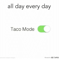 Instagram, Memes, and 🤖: all day every day  Taco Mode  photocredit chubbytacos / Instagram  @wearemitu 11回 Activated 24/7.