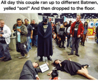 "Follow @BatmansGram for the best DC & Batman posts 🦇: All day this couple ran up to different Batmen,  yelled ""son!"" And then dropped to the floor.  ra  535  Woyn  Fa Follow @BatmansGram for the best DC & Batman posts 🦇"