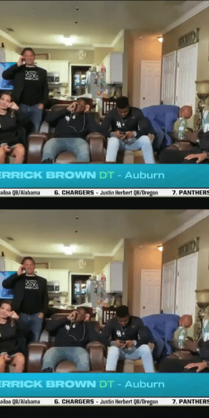 All emotion when Derrick Brown found out he was picked by the @Panthers. @DerrickBrownAU5 #NFLDraft https://t.co/Onadr4XL1M: All emotion when Derrick Brown found out he was picked by the @Panthers. @DerrickBrownAU5 #NFLDraft https://t.co/Onadr4XL1M