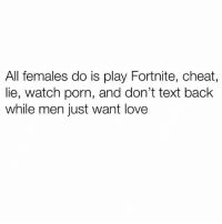Love, Memes, and Porn: All females do is play Fortnite, cheat  lie, watch porn, and don't text back  while men just want love The comments on my last post is just AIDS