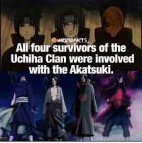 Who's your favorite Uchiha 😍 | follow @marvelousfacts: All four survivors of the  Uchiha Clan were involved  with the Akatsuki. Who's your favorite Uchiha 😍 | follow @marvelousfacts