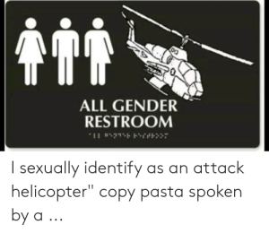 "They have one joke...: ALL GENDER  RESTROOM  I sexually identify as an attack  helicopter"" copy pasta spoken  by a .. They have one joke..."