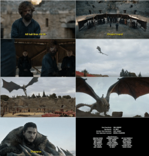 Alternate Ending https://t.co/zkcFtRui50: All hail Bran the Br  [Dragon roars  PAIL HERBES  ast Coerdiatar  Sardmaster  CC SMIFF  Aistant Shet Ceerieater  Stant Dapartment satant  DAYE FORMAN  MICHELLE NREOW  Sart Parlarmars  DOMENEDS PARDANT  JINATEAN COBER  WNAN TEMPEBLEY  IN  ANDY PURRI  PAL HIMELL  EIM MeBARRITE  BEN INMECE  TONY CHRISTIAN  ROY TANLOR  BARY CONNERY  BRADLEY FARMER  RICHARD BRADSHAW  JANES SROEAS  LEVAN ORAN  NEATHER PHILLPS  CEDRIC PROUST  TINA MASKELL  Ce SMIFF  Dracarys Alternate Ending https://t.co/zkcFtRui50