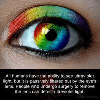 Ultraviolet: All humans have the ability to see ultraviolet  light, but it is passively filtered out by the eye's  lens. People who undergo surgery to remove  the lens can detect ultraviolet light.  fb.com/facts Weird