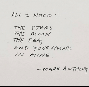I Need The: ALL I NEED  THE STARS  TtE MOON  THE SEA  AND YOUR tAND  IN MINE  MARK ANTHONY