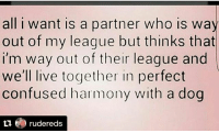 shepost♻♻ via @rudereds: all i want is a partner who is way  out of my league but thinks that  I'm way out of their league and  we'll live together in perfect  confused harmony with a dog  tu rudereds shepost♻♻ via @rudereds