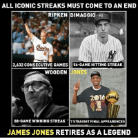 🐐: ALL ICONIC STREAKS MUST COME TO AN END  RIPKEN DIMAGGIO  2,632 CONSECUTIVE GAMES 56-GAME HITTING STREAK  WOODEN JONES  W00  2016  ●16  88-GAME WINNING STREAK 7STRAIGHT FINALAPPEARENCES  JAMES JONES RETIRES AS A LEGEND 🐐