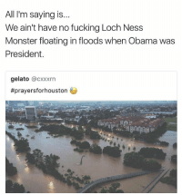 rip Houston: All I'm saying is..  We ain't have no fucking Loch Ness  Monster floating in floods when Obama was  President  gelato @CXxxrn  rip Houston