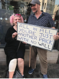Dank, Protest, and London: ALL IN ALL  YOUR E TJST  ANOTHER PRICK  WITH NO WALL Great protest sign from London